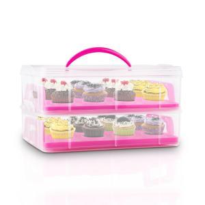 Klarstein USS Pink Cookie, růžový, přenosný box na koláče s 2 patry, 2 rošty