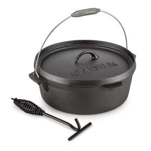 Klarstein Hotrod 60, černý, litinový hrnec, barbecue hrnec, 6 qt / 5,7 litry, litina