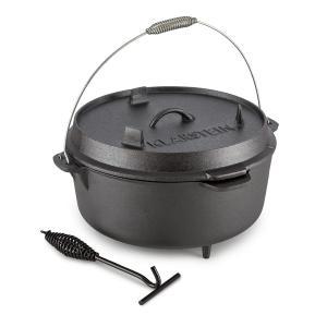 Klarstein Hotrod 145, černý, litinový hrnec, barbecue hrnec, 12 qt / 11,4 litru, litina
