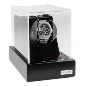 Klarstein Ermitage, černý, pohyblivý stojan na hodinky, 1 hodinky, 2 režimy otáčení, síťový provoz i provoz na baterie