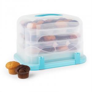Klarstein Blaukäppchen XL, modrý, box na koláč, držák na muffiny, 36 ks, 34,5 x 25 x 25,5 cm