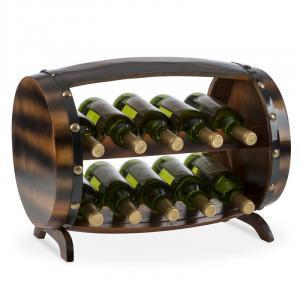 Klarstein Barrica dřevěný regál na víno, stojan na láhve, 10 lahví jedle